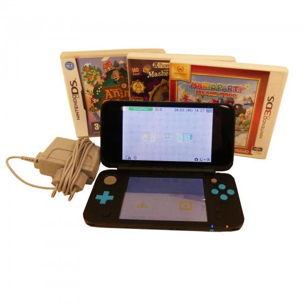 Nintendo New 2DS XL schwarz/türkis 4GB SD Karte inkl. 3 Spiele Konsole gebraucht Artikel