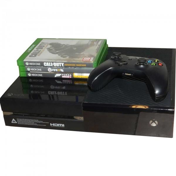 Microsoft Xbox One 500GB Schwarz mit 1 Controller & 3 Spiele Konsole gebraucht